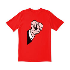 Roy Lichtenstein: Finger Pointing T-Shirt Small in color Red