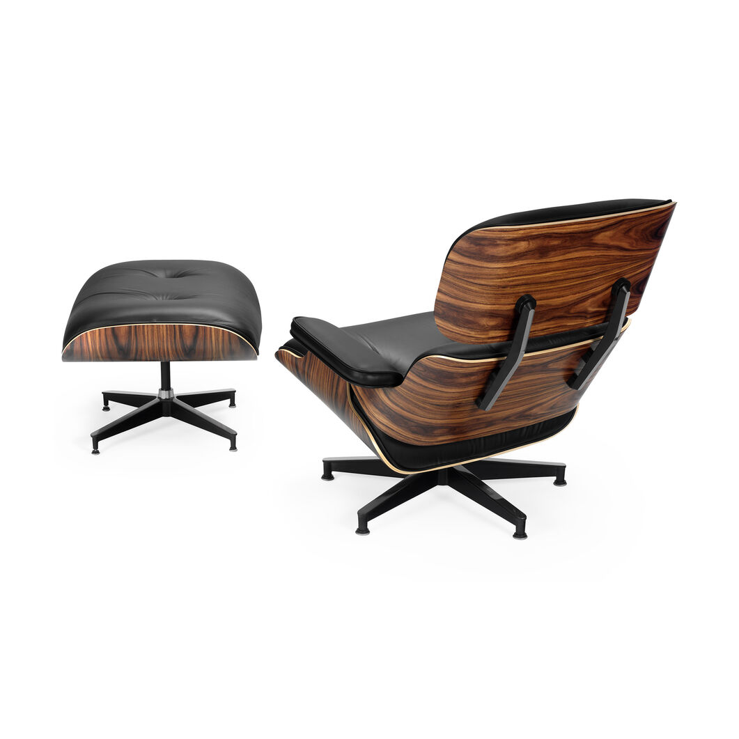 Eames Lounge Chair Black Leather Walnut Panel in color Black/  Walnut