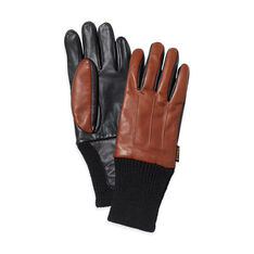 Leather Touch Gloves Large in color Brown