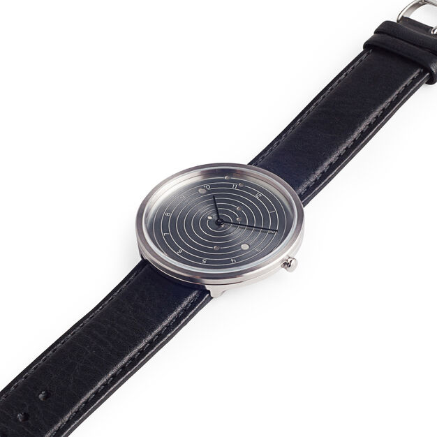 Customizable Ephemeris Watch with Black Leather Strap in color