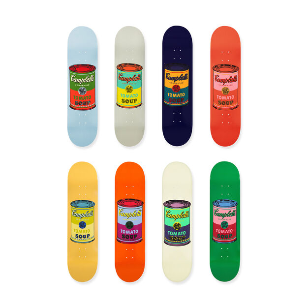 Andy Warhol: Skateboard Colored Campbell's Soup Cans Set of 8 in color