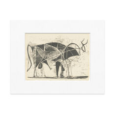 Picasso: The Bull Matted Print in color