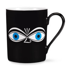 Alexander Girard Eyes Coffee Mug Blue in color White
