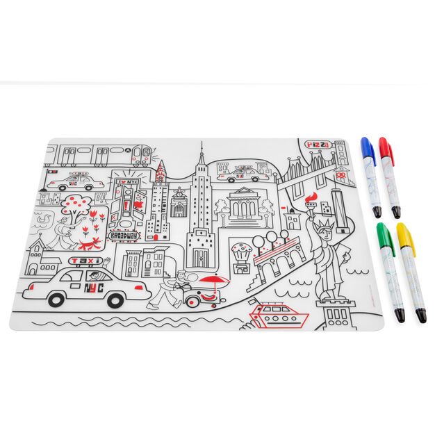 NYC Coloring Placemat in color