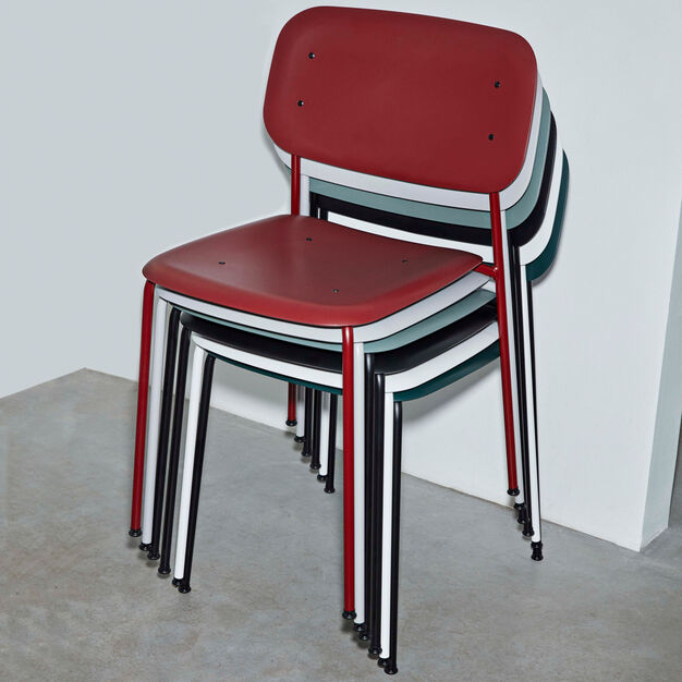 HAY Soft Edge P10 Stackable Chairs in color Red