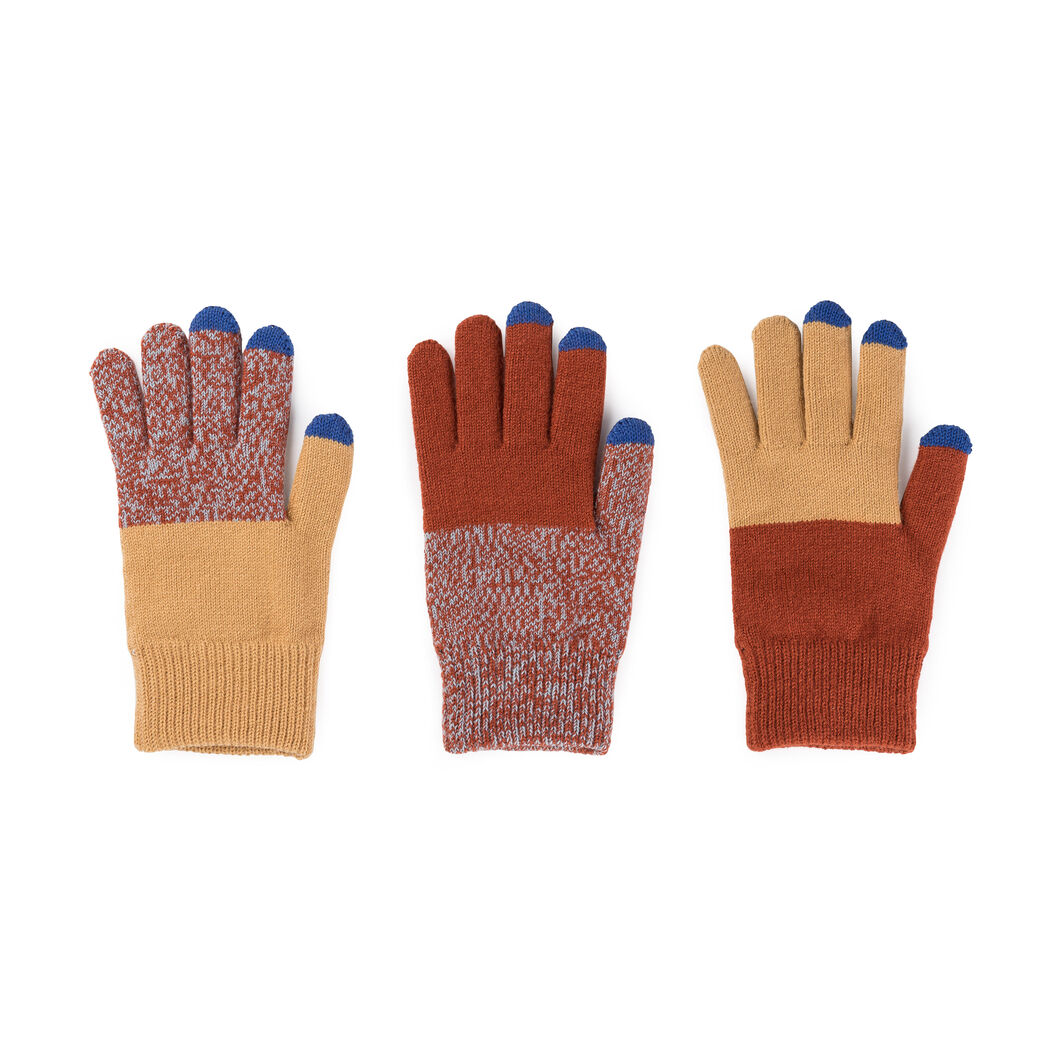 Pair & a Spare Color Block Smart Gloves in color Camel/ Rust