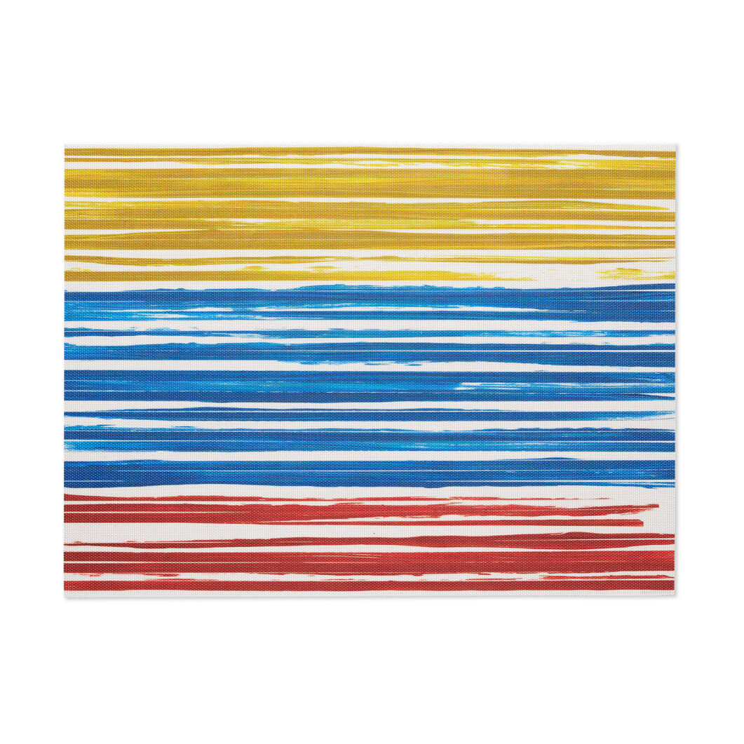 Chilewich Multi-Color Stripe Placemat in color Yellow/ Blue/ Red