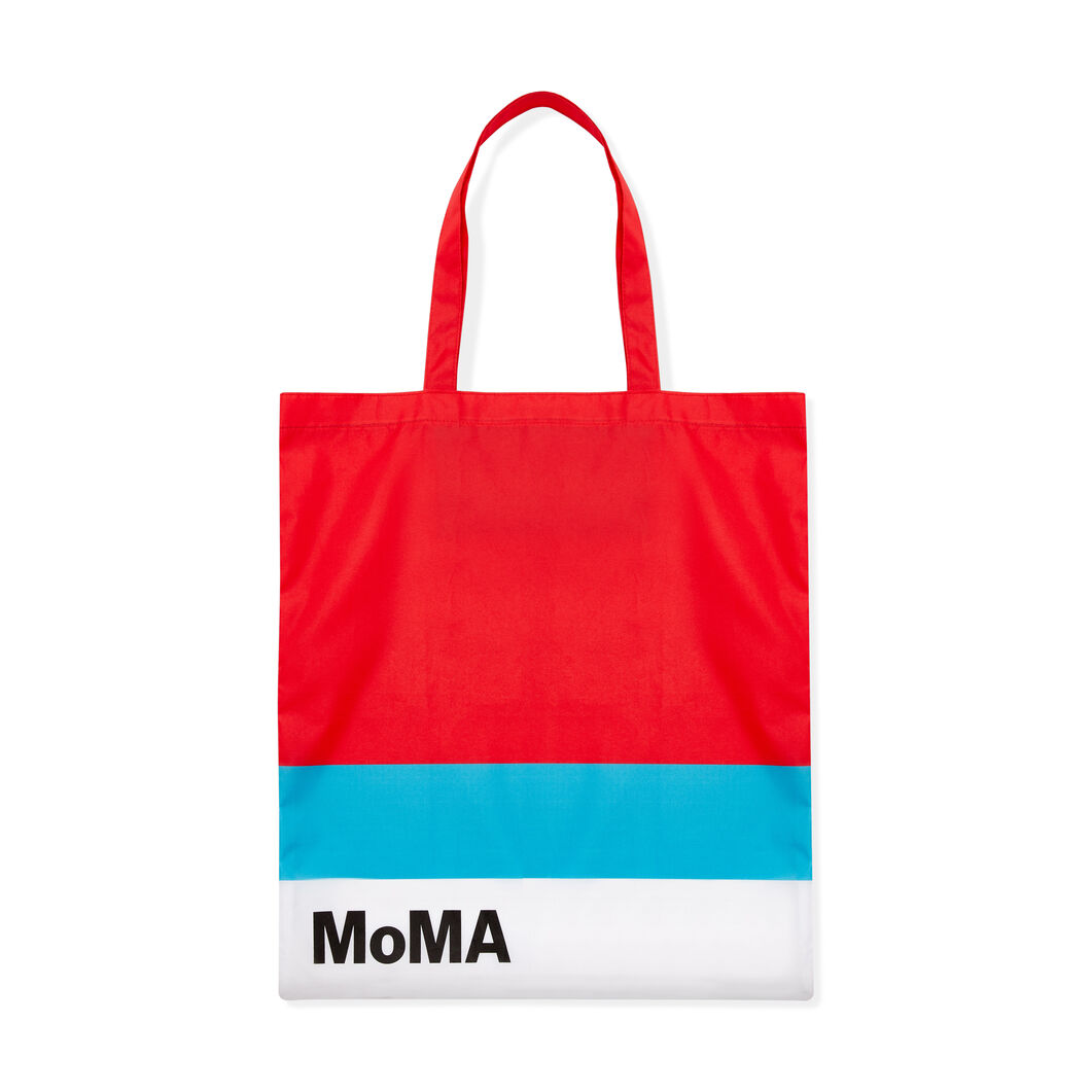 MoMA Logo Foldable Tote Bag in color Red/ Blue
