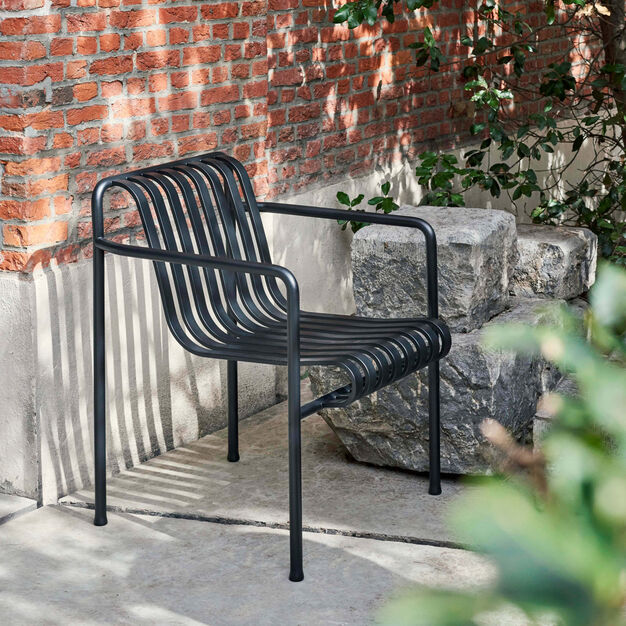 HAY Palissade Outdoor Dining Armchair in color Anthracite