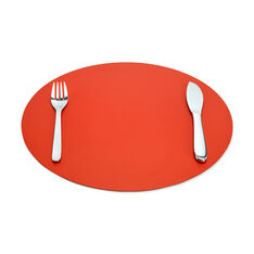 Dual-Sided Recycled Leather Placemat in color Red/ Charcoal