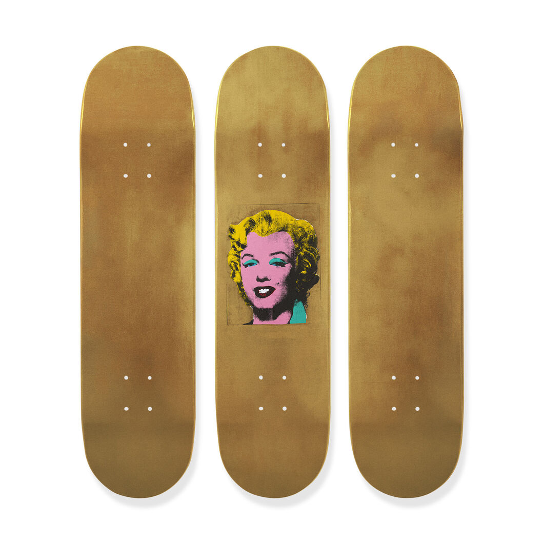 Andy Warhol: Skateboard Triptych Gold Marilyn Monroe in color