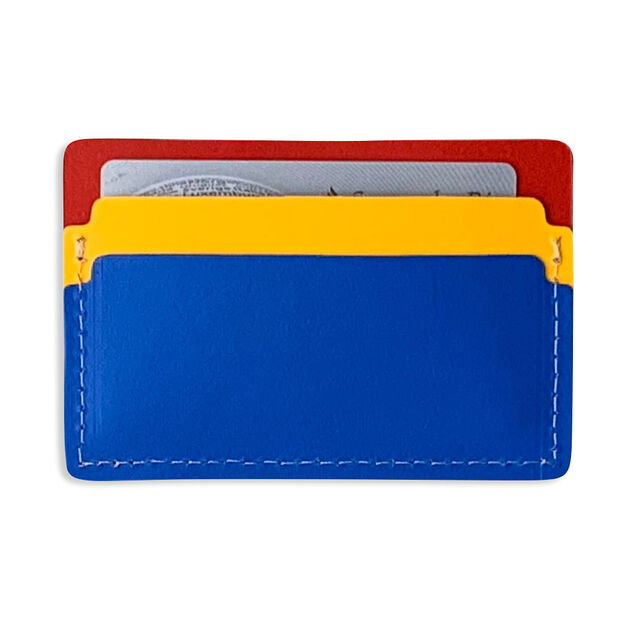 Primary Recycled Leather Cardholder in color Blue/ Red