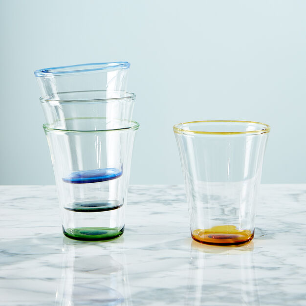 Color Accent Drinking Glasses - Set of 4 in color Multicolor