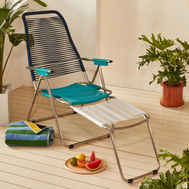 Spaghetti Outdoor Lounge Chair in color Blue/ Turquoise/ White