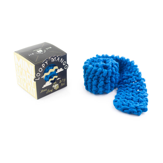 Loopy Mango DIY Kids Scarf Knit Kit in color Cool Blue