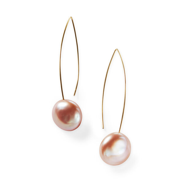 Melissa McArthur Pink Pearl Drop Earrings in color