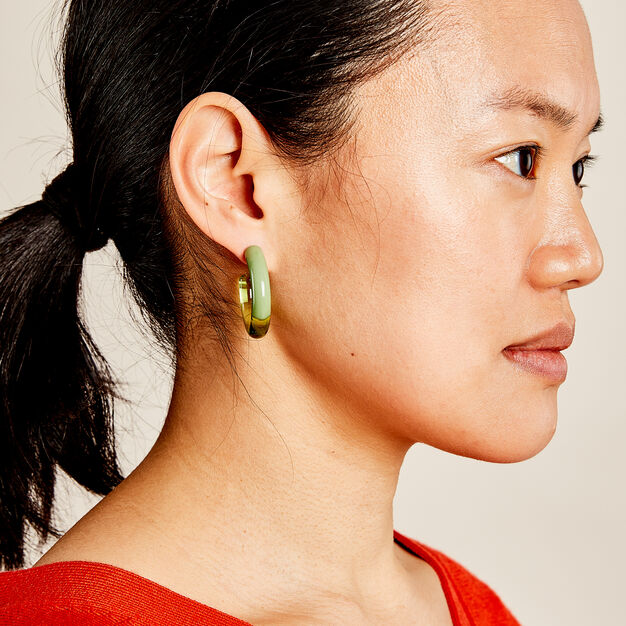 Keane Hoop Earrings in color Green