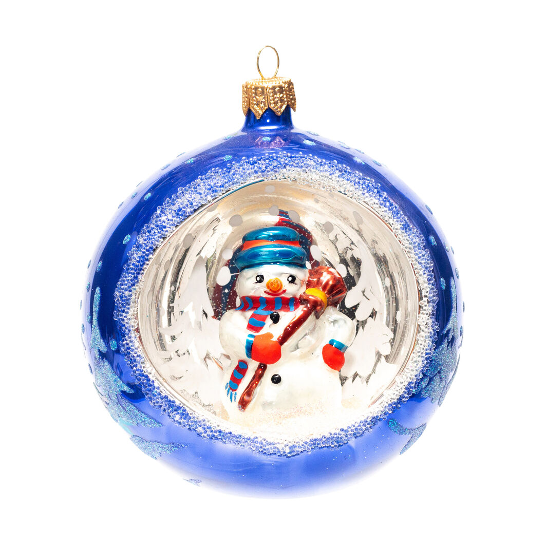 Glass Snowman Diorama Holiday Ornament in color