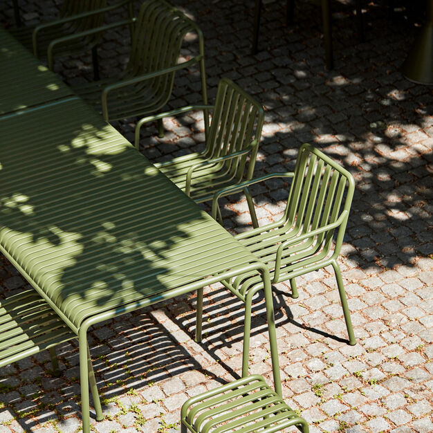 HAY Palissade Outdoor Dining Armchair in color Olive
