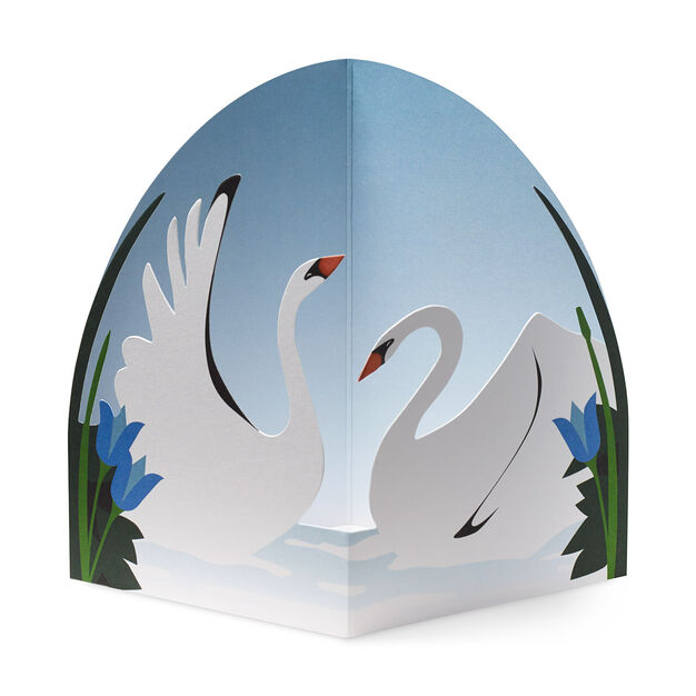 Graceful Swans Pop-Up Note Cards in color