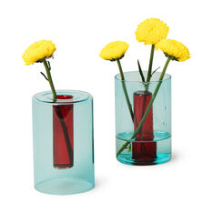 Reversible Glass Vase in color Blue/Red