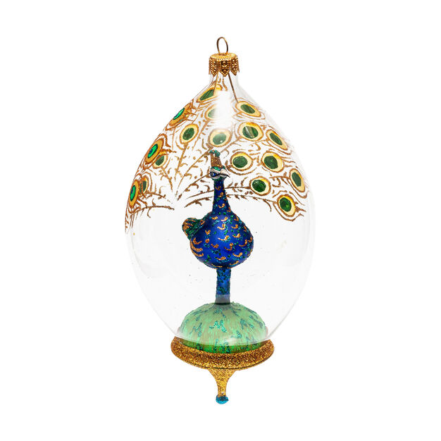 Glass Peacock Globe Holiday Ornament in color