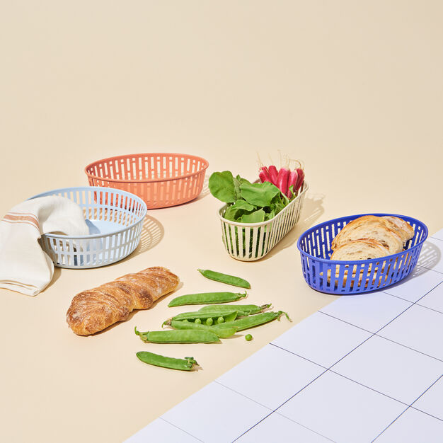 HAY Panier Steel Bread Basket - Oval in color Blue