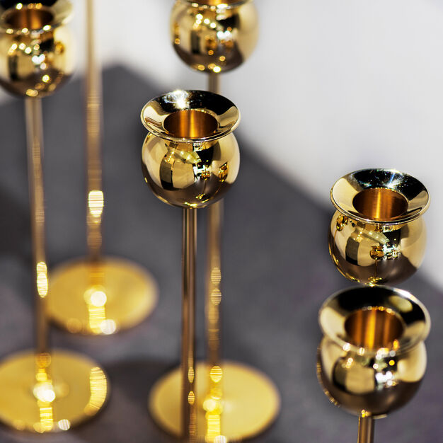 Polished Brass Tulip Candlestick Set in color