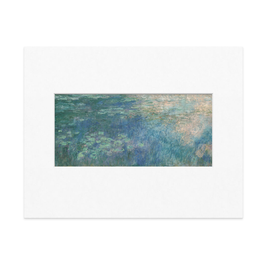 Monet: Water Lilies (Panel 1) Matted Print in color