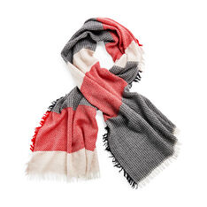 Wool Pixel Scarf in color Red/ Grey/ Black