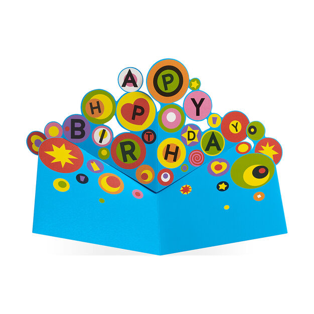 Birthday Dots Pop-Up Note Cards in color