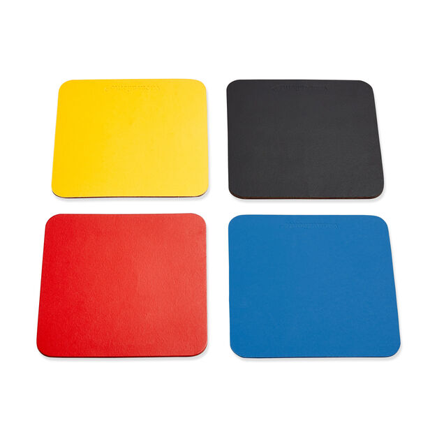 Dual-Sided Recycled Leather Coasters – Set of 4 in color Multi