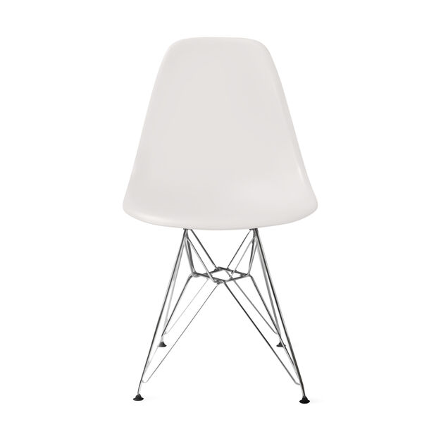 Eames® Molded Plastic Side Chair with Wire Base (DSR) in color White