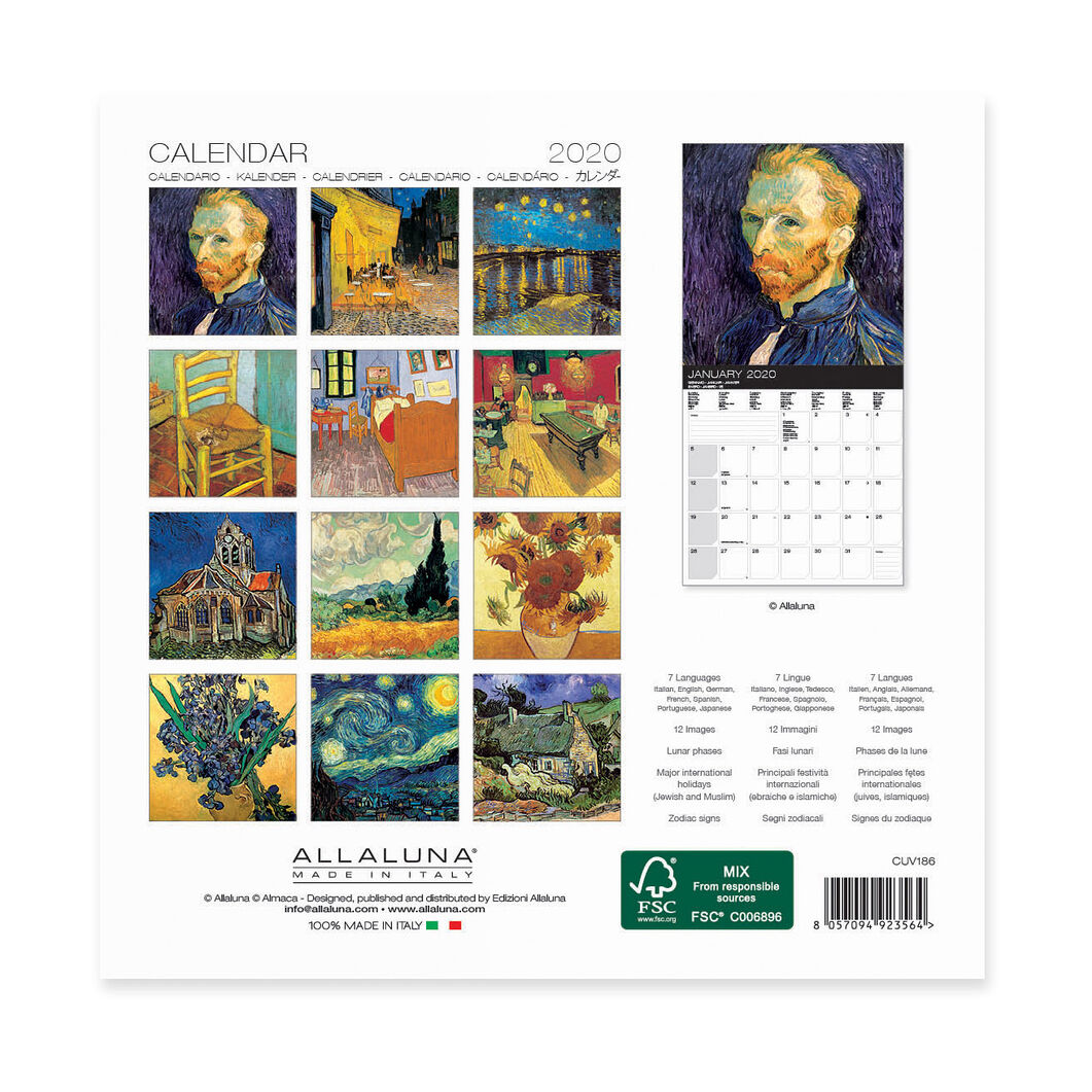 Calendario Tedesco 2020.2020 Van Gogh Mini Wall Calendar