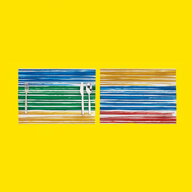 Chilewich Multi-Color Stripe Placemat in color Blue/ Green/ Yellow