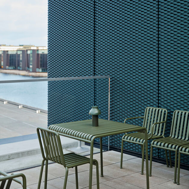 HAY Palissade Outdoor Café Table in color Olive