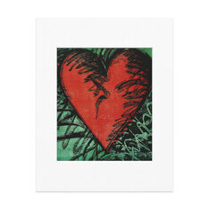 Matted Print  Dine: Rancho Woodcut Heart in color