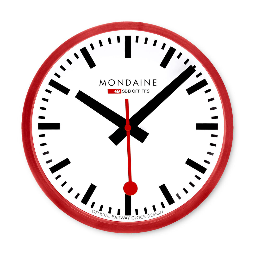 Small Swiss Railway Wall Clock in color Red