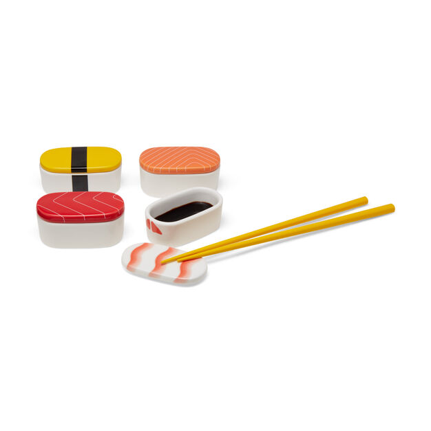 Sushi Sauce Bowls & Chopstick Rests in color Multicolor