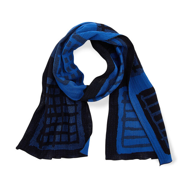Warp and Weft Cotton Scarf in color Blue