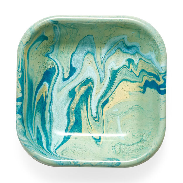 Multi Swirl Enamel Square Baking Dish in color Green