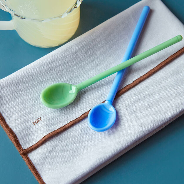 HAY Glass Spoons in color Sky Blue/ Green