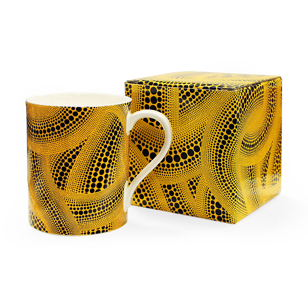 Yayoi Kusama Yellow Trees Porcelain Mug in color