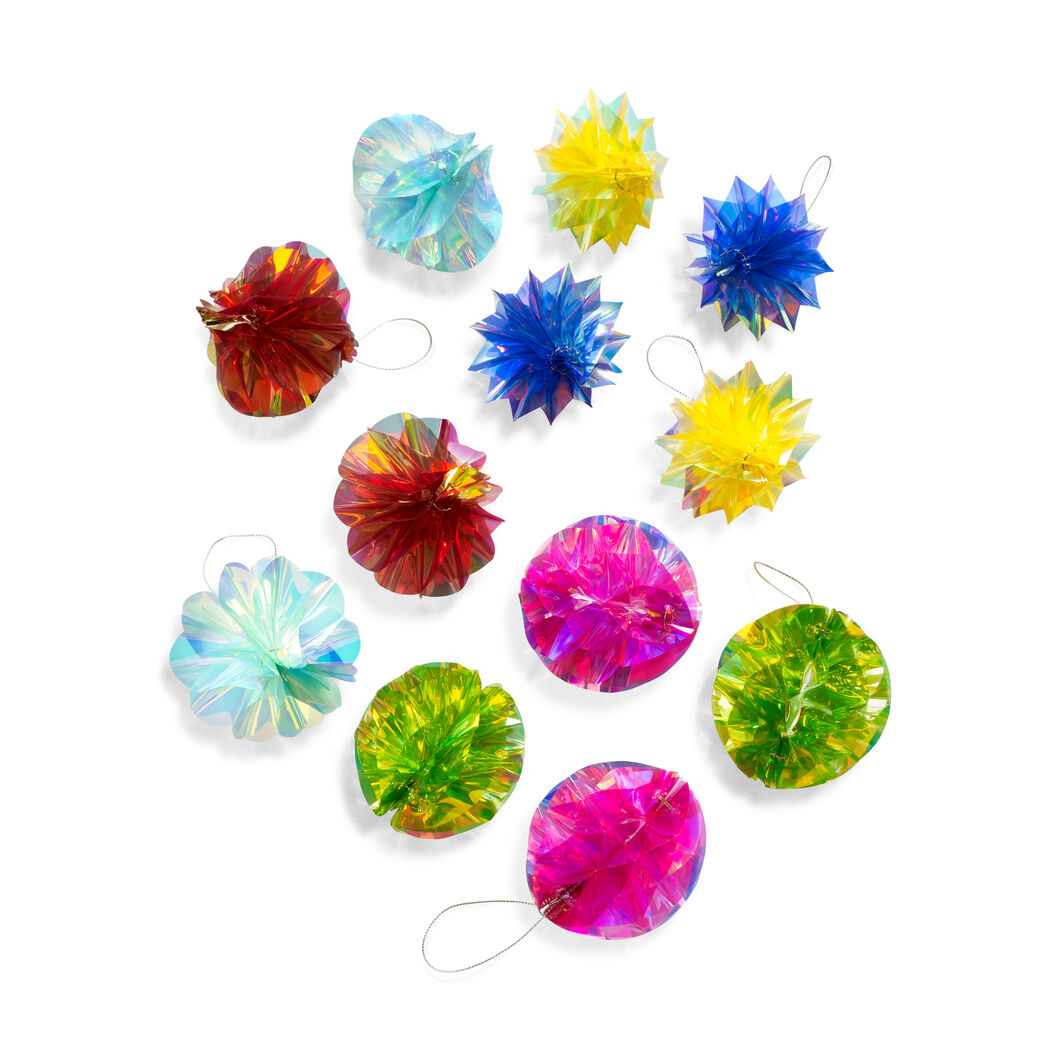 Rainbow Iridescent Honeycomb Ornaments - Set of 12 in color
