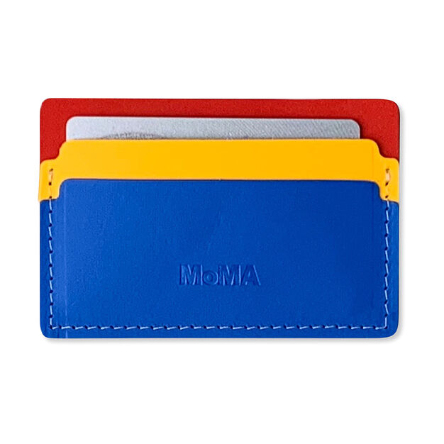 Primary Recycled Leather Cardholder in color Red/ Pink