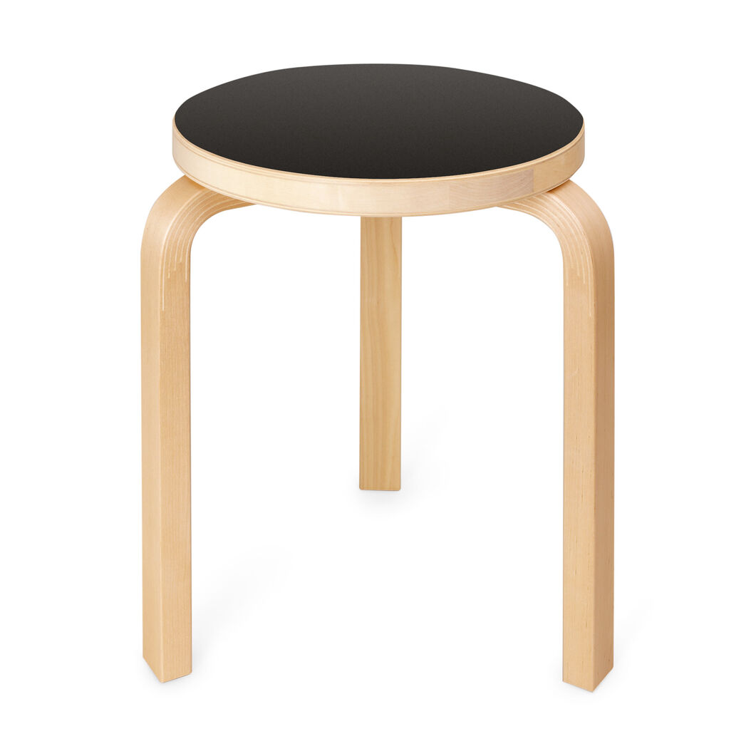 Three-Legged Stacking Stool - Black Linoleum Top in color Black