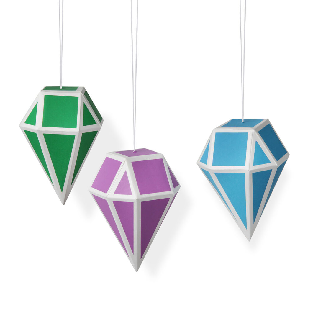Geometric Paper Ornament Set: Cool Colors in color Cool