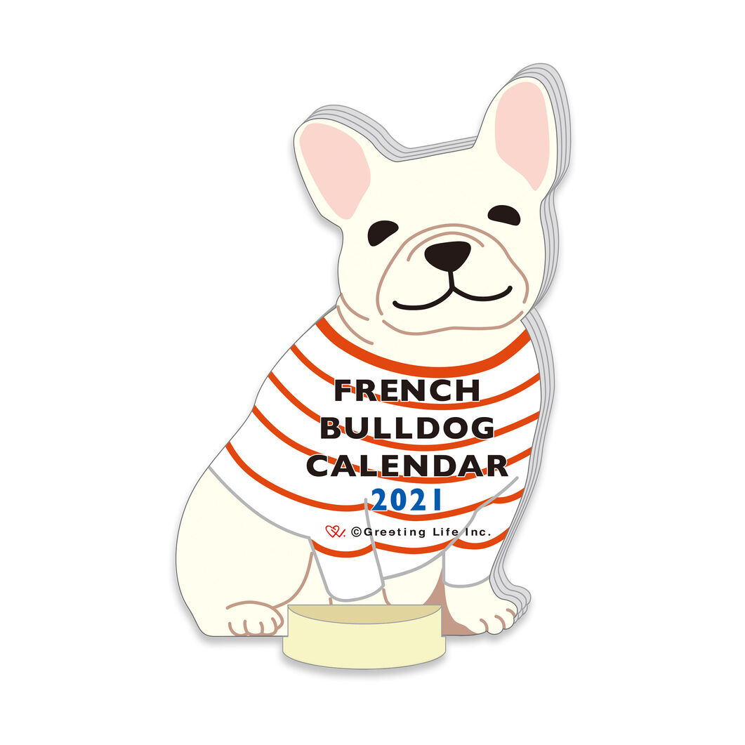 2021 French Bulldog Desk Calendar in color