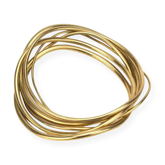 Soko Wavy Brass Stack Bangles in color