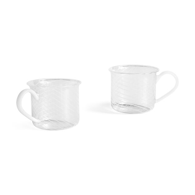 HAY Glass Mugs - Set of 2 in color White Swirl